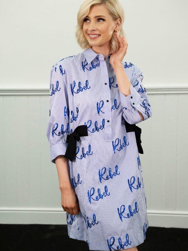 Silvian Heach Bagman Blue Dress