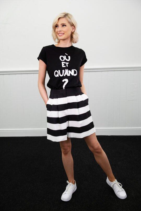 i Blues Deodra Cotton Black T-shirt