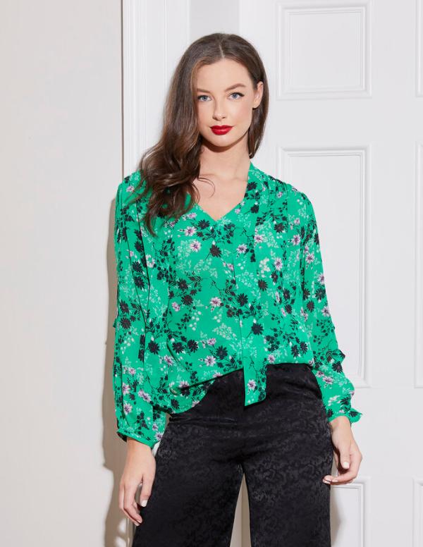 Caroline Kilkenny Sadie Green Printed Blouse