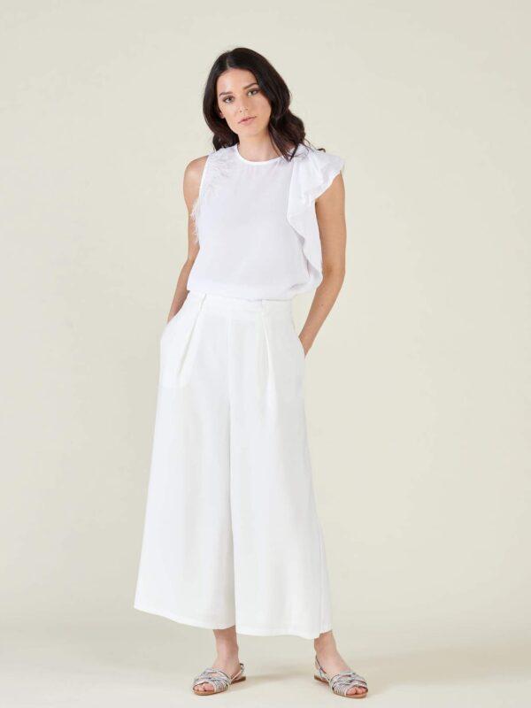 Silvian Heach Parvati Cropped White Trouser