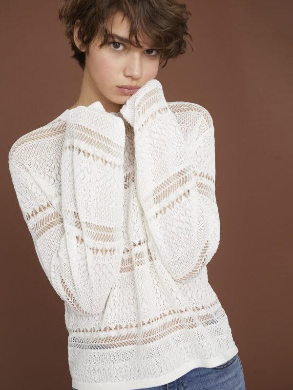 i Blues Ribbelle Textured White Jumper