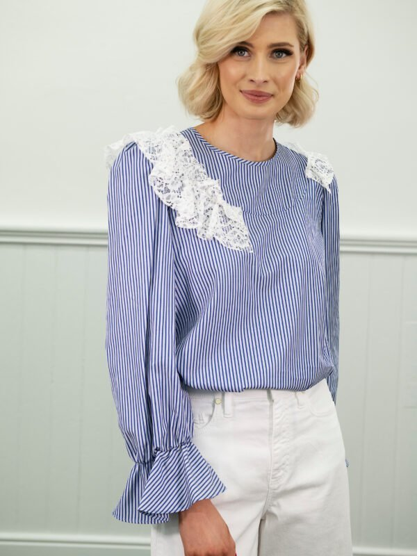 i Blues Bitter Striped And Lace Top