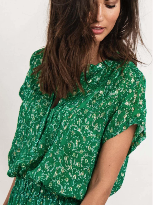 Lolly's Laundry Heather Printed Green Blouse