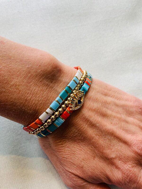Corona Silver Italian Mosaic Bracelet With Eye Detail