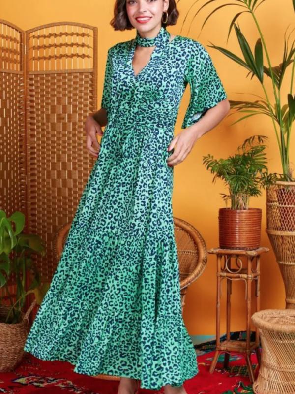 Onjenu Tilly Guepard Green Dress