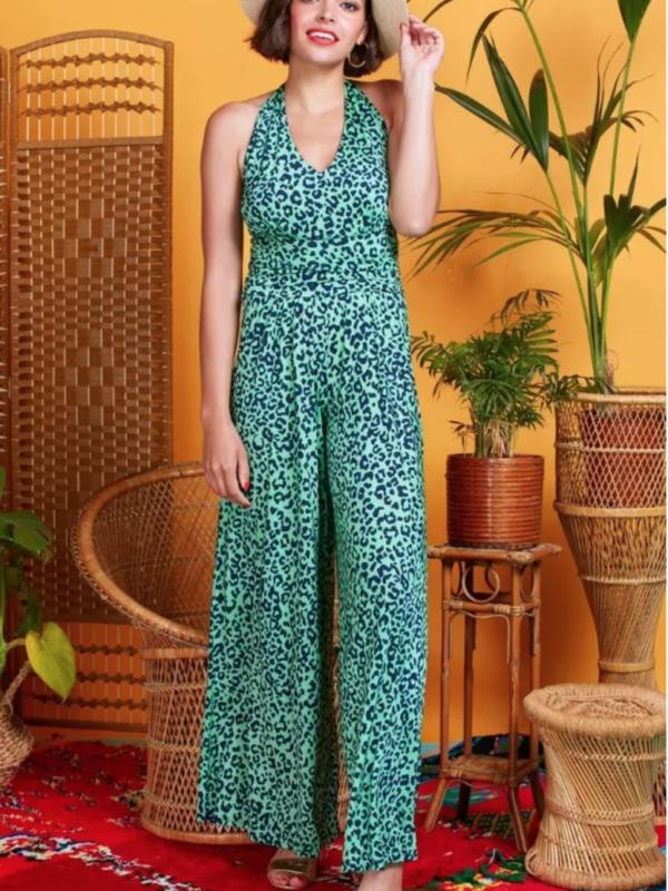 Onjenu Ciara Guepard Green Jumpsuit