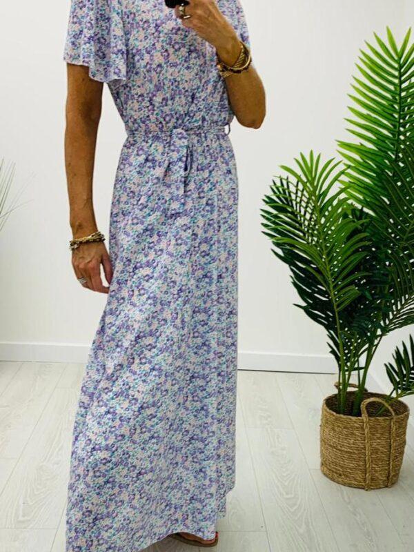 Kyla Floral Print Maxi In Lilac Tones