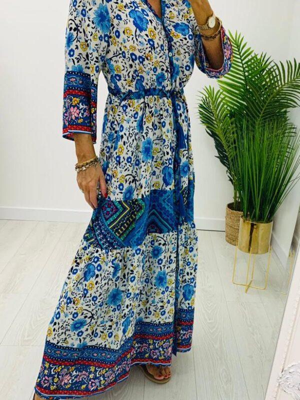 Kyla Blue Print Maxi Dress
