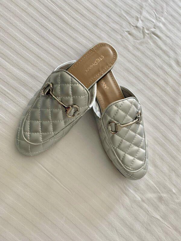 Silver Tone Slip On Shoe