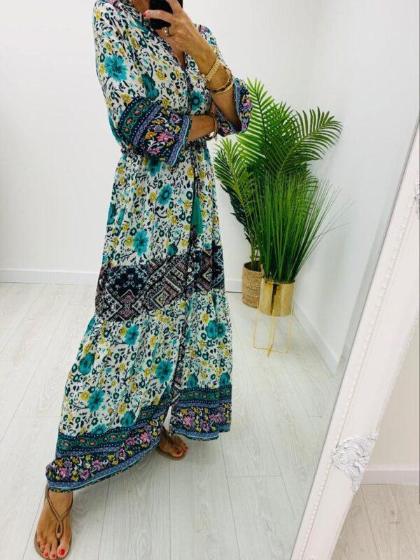 Kyla Green Print Maxi Dress